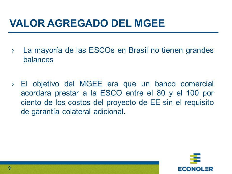9 La mayoría de las ESCOs en Brasil no tienen grandes balances El objetivo del MGEE era que un banco comercial acordara prestar a la ESCO entre el 80 y el 100 por ciento de los costos del proyecto de EE sin el requisito de garantía colateral adicional.