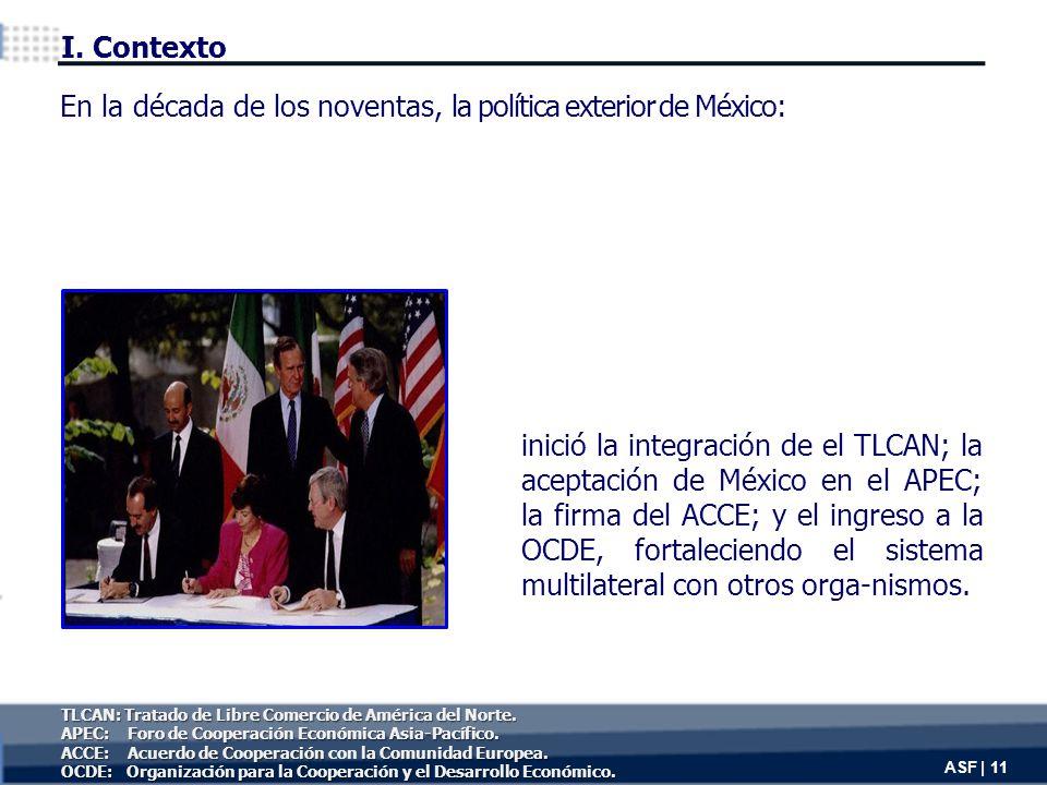 inició la integración de el TLCAN; la aceptación de México en el APEC; la firma del ACCE; y el ingreso a la OCDE, fortaleciendo el sistema multilateral con otros orga-nismos.