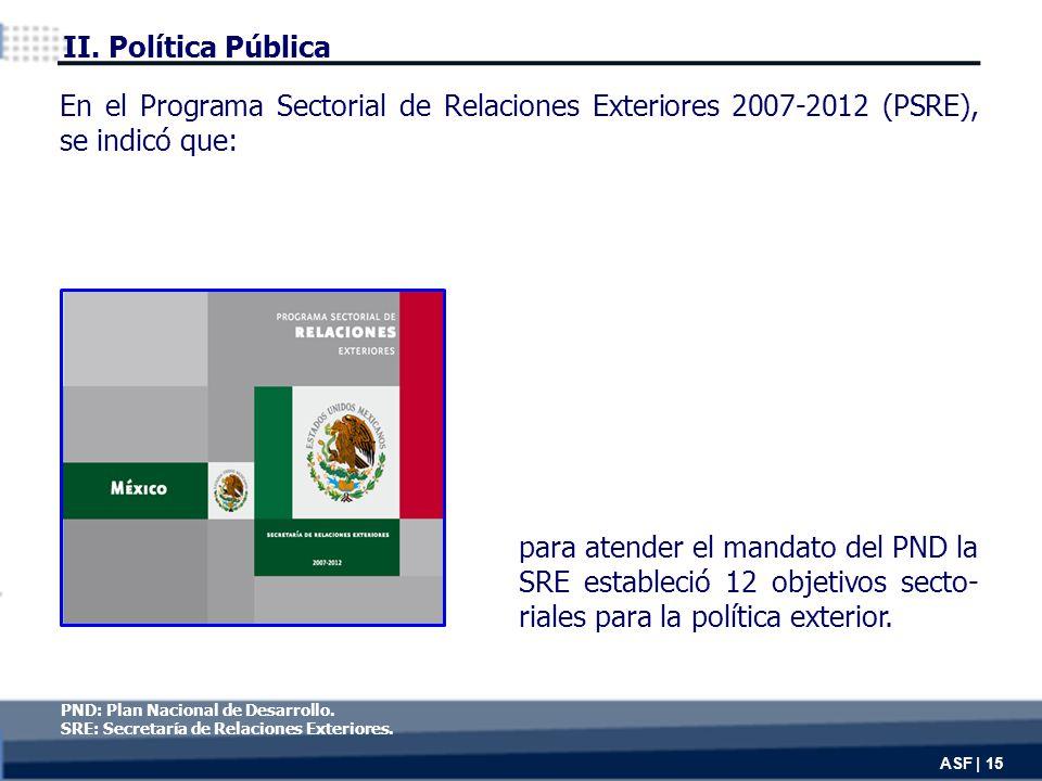 ASF | 15 para atender el mandato del PND la SRE estableció 12 objetivos secto- riales para la política exterior.