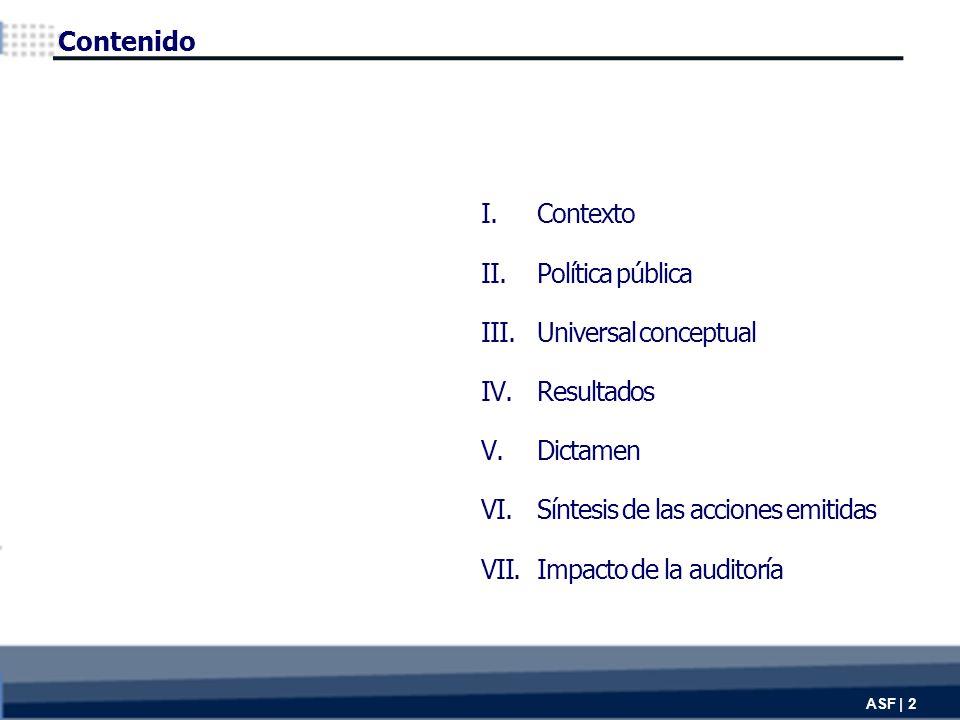 I.Contexto II.Política pública III.Universal conceptual IV.Resultados V.Dictamen VI.Síntesis de las acciones emitidas VII.Impacto de la auditoría Contenido ASF | 2