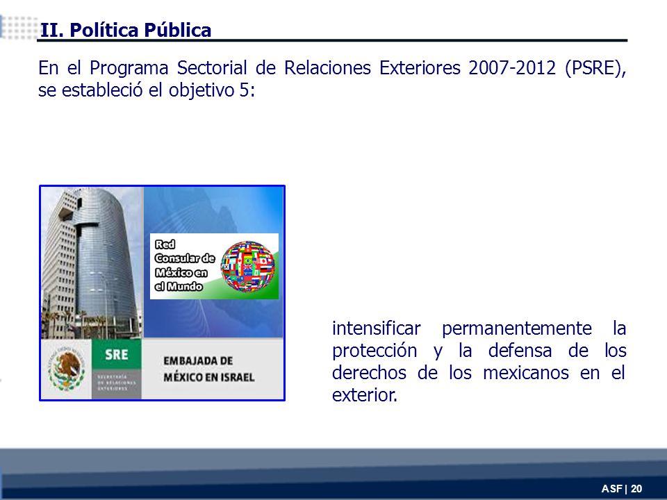 ASF | 20 intensificar permanentemente la protección y la defensa de los derechos de los mexicanos en el exterior.