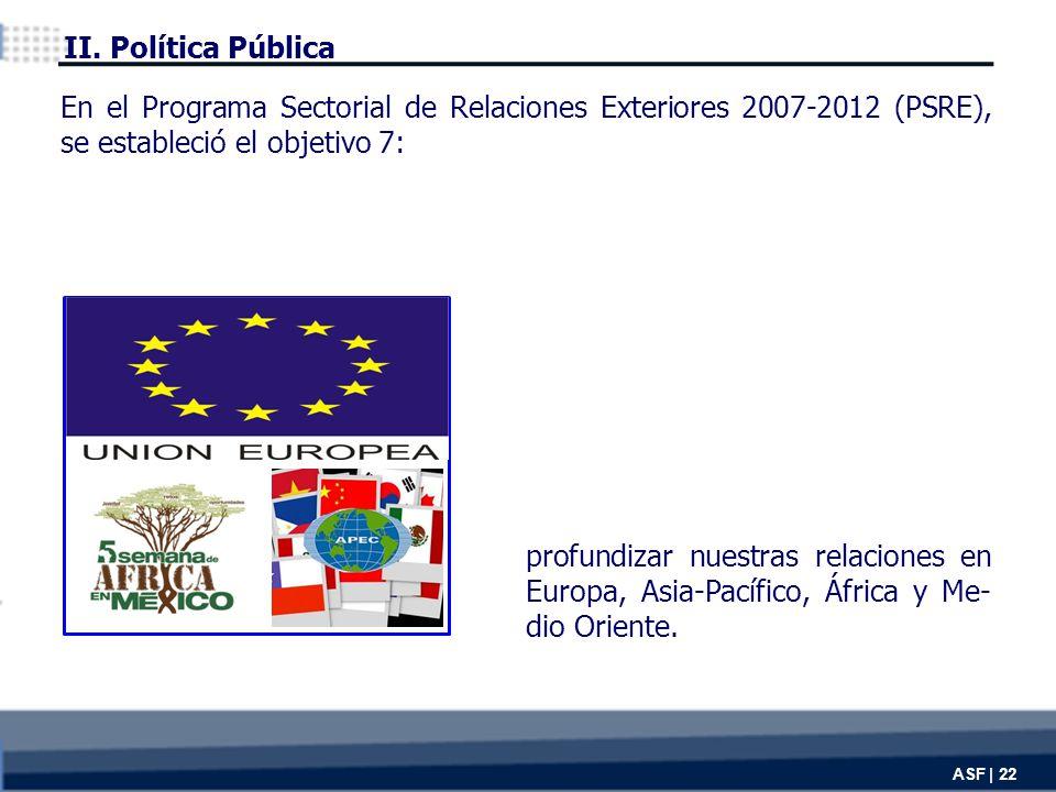 ASF | 22 profundizar nuestras relaciones en Europa, Asia-Pacífico, África y Me- dio Oriente.