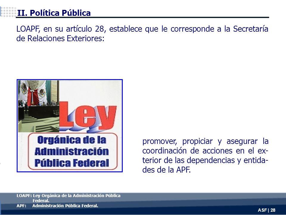 promover, propiciar y asegurar la coordinación de acciones en el ex- terior de las dependencias y entida- des de la APF.