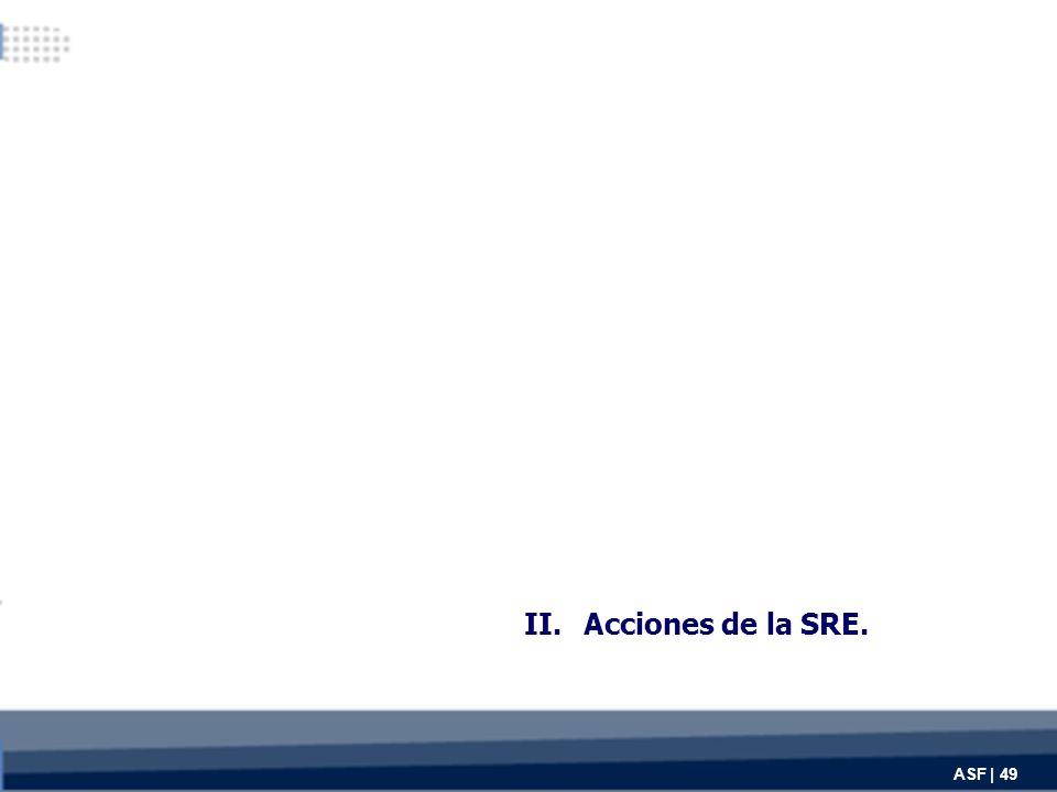 II.Acciones de la SRE. ASF | 49