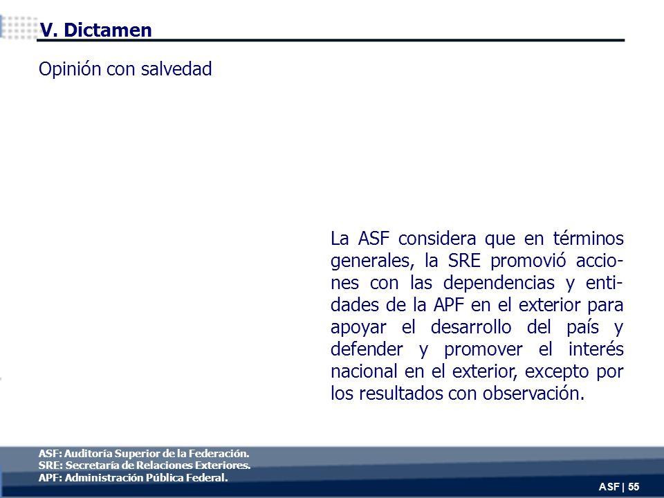 V. Dictamen La ASF considera que en términos generales, la SRE promovió accio- nes con las dependencias y enti- dades de la APF en el exterior para ap