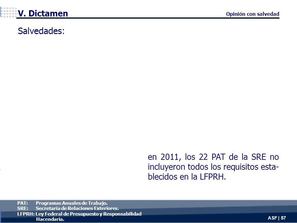 Salvedades: en 2011, los 22 PAT de la SRE no incluyeron todos los requisitos esta- blecidos en la LFPRH.