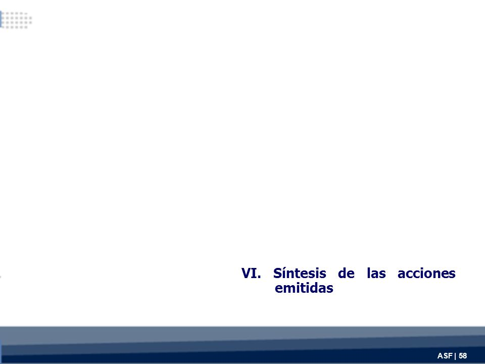 VI. Síntesis de las acciones emitidas ASF | 58