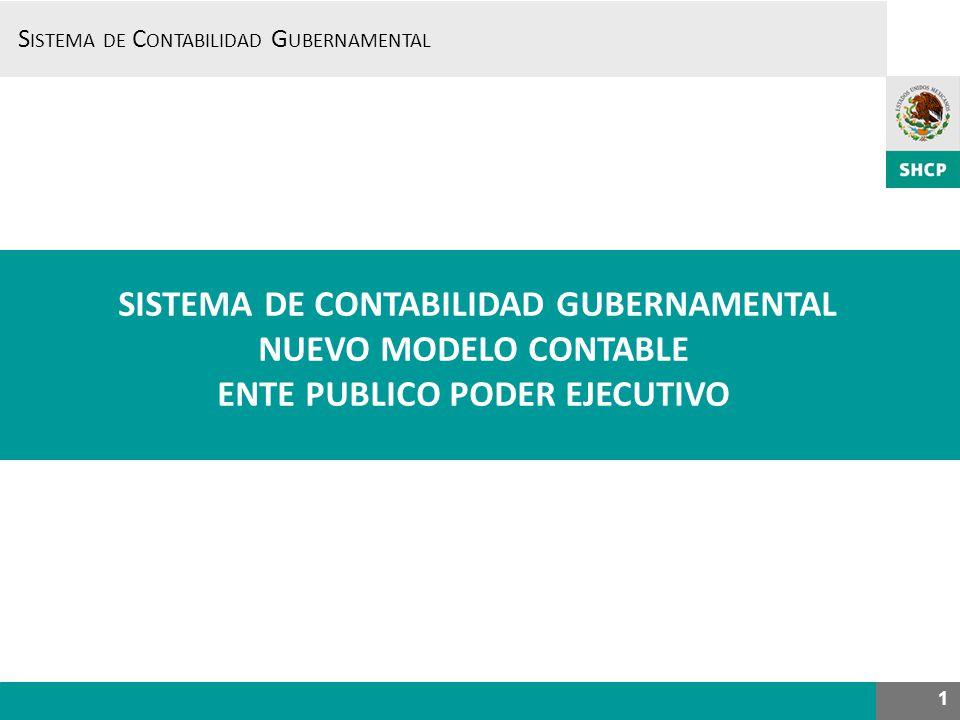 S ISTEMA DE C ONTABILIDAD G UBERNAMENTAL 1 NUEVO MODELO CONTABLE ENTE PUBLICO PODER EJECUTIVO