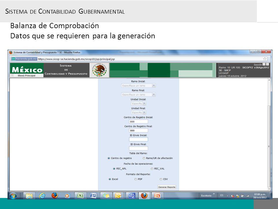S ISTEMA DE C ONTABILIDAD G UBERNAMENTAL, Balanza de Comprobación Datos que se requieren para la generación