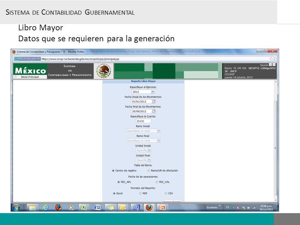 S ISTEMA DE C ONTABILIDAD G UBERNAMENTAL, Libro Mayor Datos que se requieren para la generación