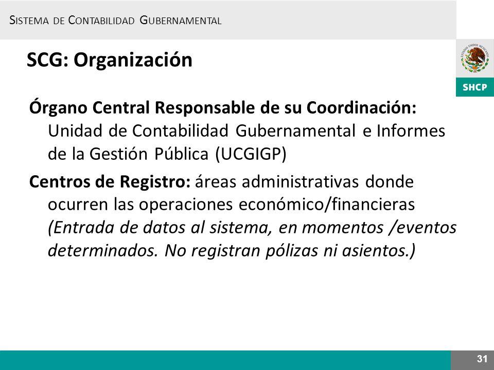 S ISTEMA DE C ONTABILIDAD G UBERNAMENTAL 31 SCG: Organización Órgano Central Responsable de su Coordinación: Unidad de Contabilidad Gubernamental e In