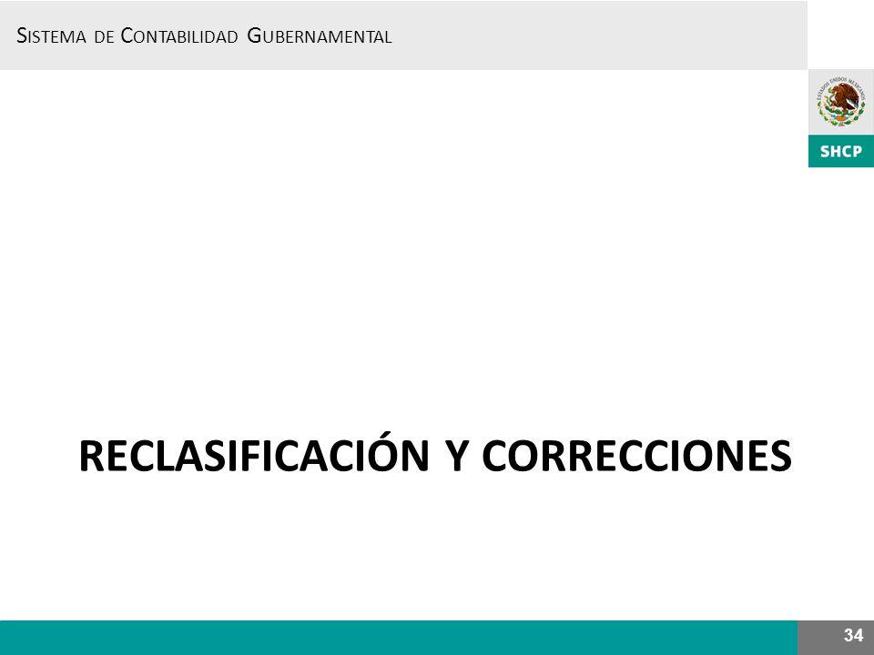 S ISTEMA DE C ONTABILIDAD G UBERNAMENTAL RECLASIFICACIÓN Y CORRECCIONES 34