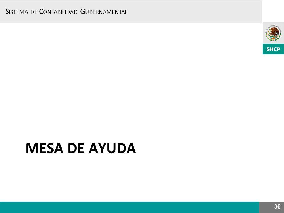 S ISTEMA DE C ONTABILIDAD G UBERNAMENTAL MESA DE AYUDA 36