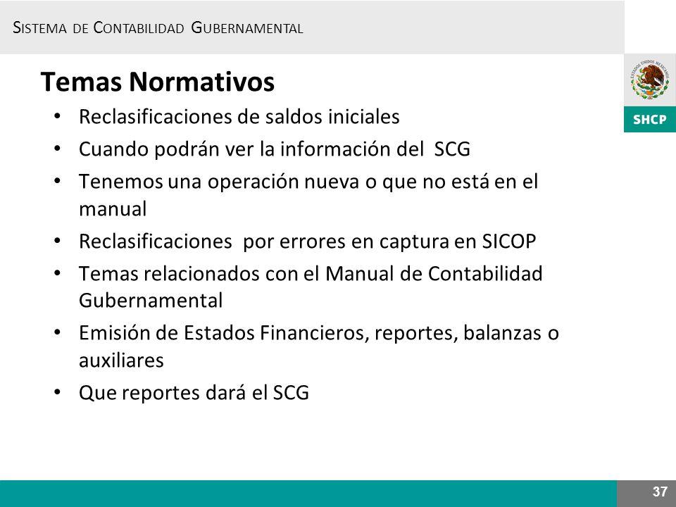 S ISTEMA DE C ONTABILIDAD G UBERNAMENTAL 37 Temas Normativos Reclasificaciones de saldos iniciales Cuando podrán ver la información del SCG Tenemos un