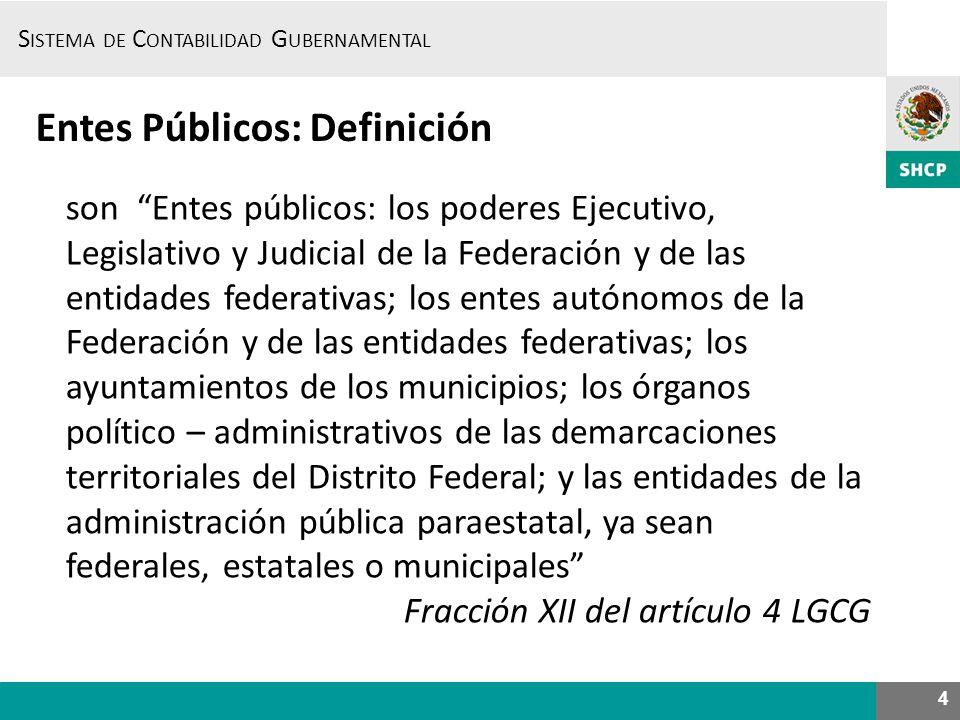 S ISTEMA DE C ONTABILIDAD G UBERNAMENTAL 4 Entes Públicos: Definición son Entes públicos: los poderes Ejecutivo, Legislativo y Judicial de la Federaci