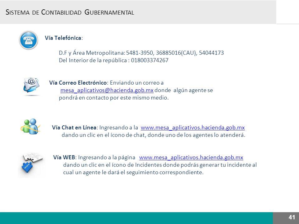 S ISTEMA DE C ONTABILIDAD G UBERNAMENTAL, Vía Telefónica: D.F y Área Metropolitana: 5481-3950, 36885016(CAU), 54044173 Del Interior de la república :