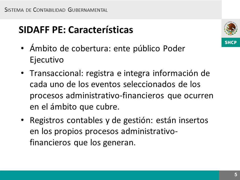 S ISTEMA DE C ONTABILIDAD G UBERNAMENTAL 5 SIDAFF PE: Características Ámbito de cobertura: ente público Poder Ejecutivo Transaccional: registra e inte