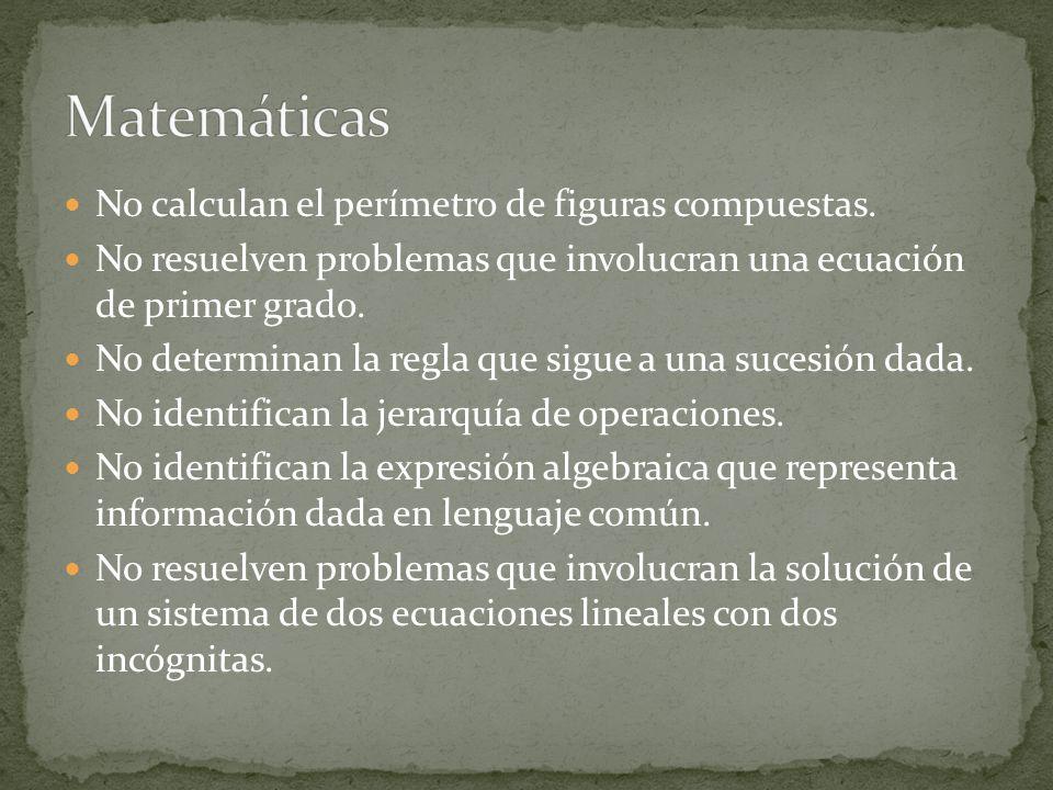 No calculan el perímetro de figuras compuestas. No resuelven problemas que involucran una ecuación de primer grado. No determinan la regla que sigue a