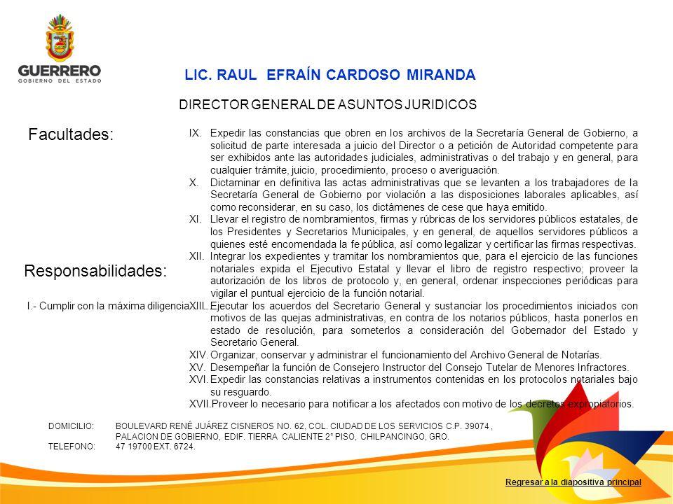 Facultades: Responsabilidades: Regresar a la diapositiva principal I.- Cumplir con la máxima diligencia ……… LIC.