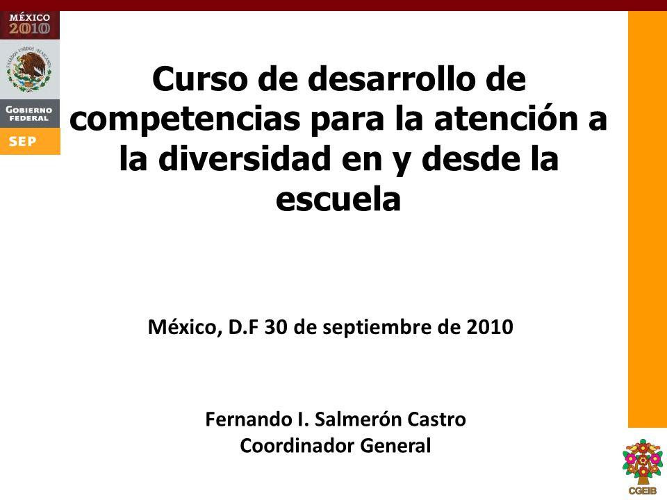 Curso de desarrollo de competencias para la atención a la diversidad en y desde la escuela Fernando I. Salmerón Castro Coordinador General México, D.F