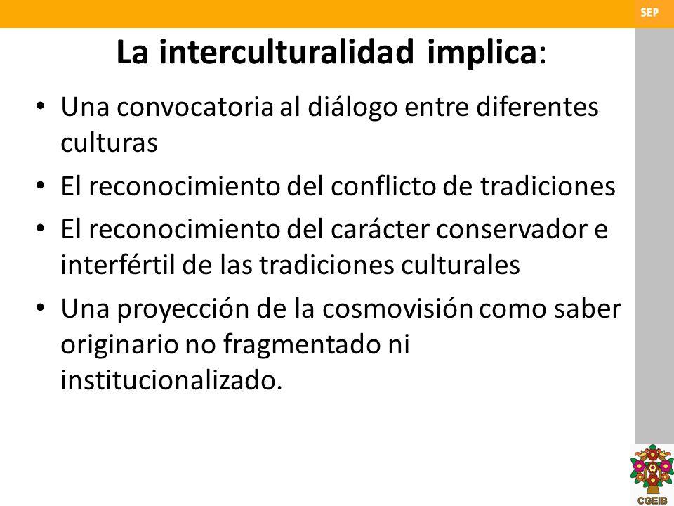 La interculturalidad implica: Una convocatoria al diálogo entre diferentes culturas El reconocimiento del conflicto de tradiciones El reconocimiento d
