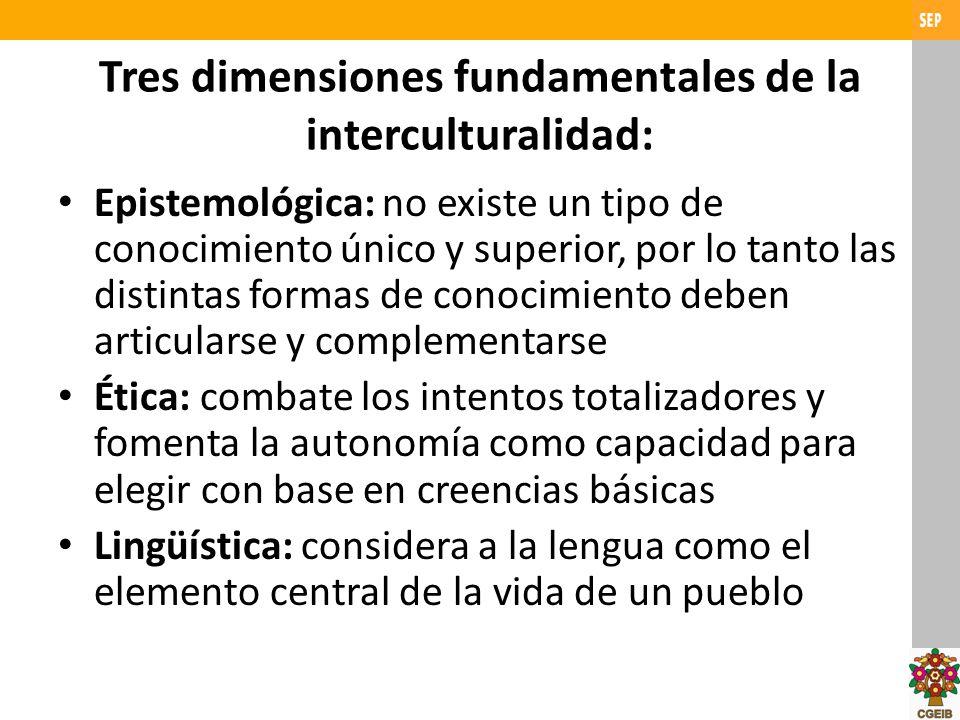 Tres dimensiones fundamentales de la interculturalidad: Epistemológica: no existe un tipo de conocimiento único y superior, por lo tanto las distintas