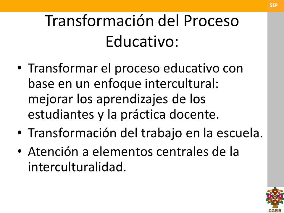 Transformación del Proceso Educativo: Transformar el proceso educativo con base en un enfoque intercultural: mejorar los aprendizajes de los estudiant