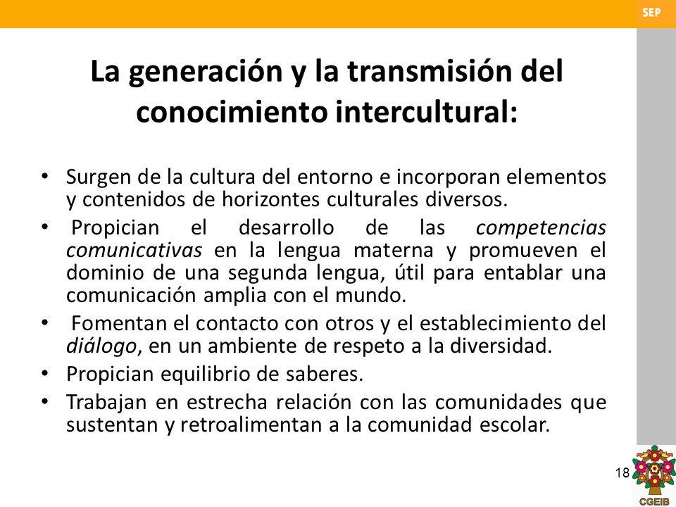 18 La generación y la transmisión del conocimiento intercultural: Surgen de la cultura del entorno e incorporan elementos y contenidos de horizontes c