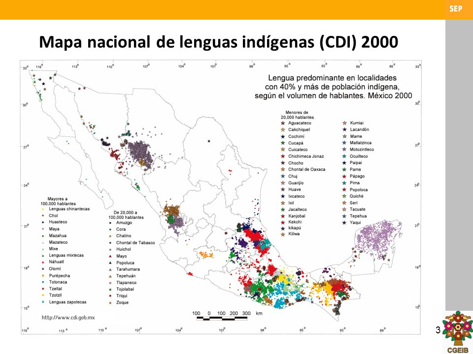 3 Mapa nacional de lenguas indígenas (CDI) 2000