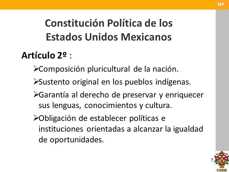 7 Constitución Política de los Estados Unidos Mexicanos Artículo 2º : Composición pluricultural de la nación. Sustento original en los pueblos indígen