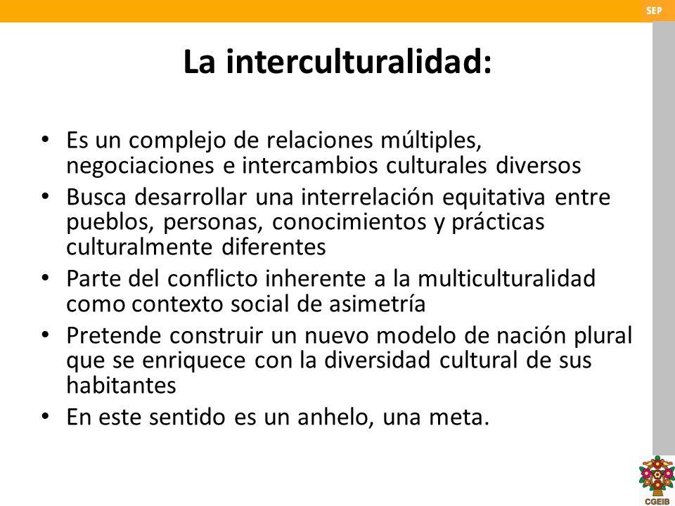La interculturalidad: Es un complejo de relaciones múltiples, negociaciones e intercambios culturales diversos Busca desarrollar una interrelación equ