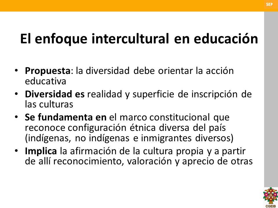 El enfoque intercultural en educación Propuesta: la diversidad debe orientar la acción educativa Diversidad es realidad y superficie de inscripción de