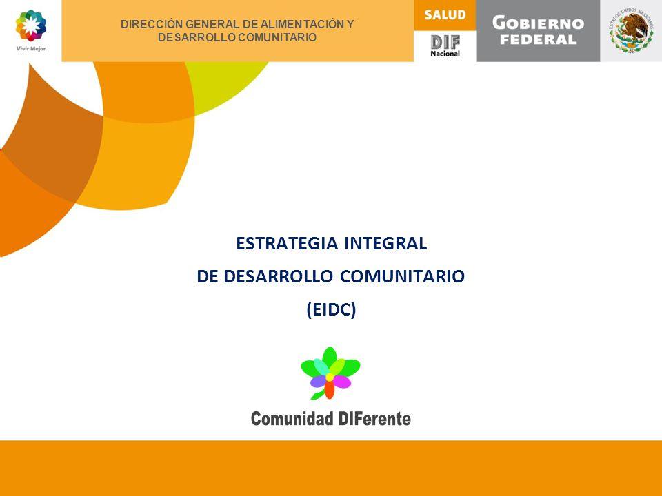 XII ENCUENTRO NACIONAL DE ALIMENTACIÓN Y DESARROLLO COMUNITARIO ESTRATEGIA INTEGRAL DE DESARROLLO COMUNITARIO (EIDC) DIRECCIÓN GENERAL DE ALIMENTACIÓN Y DESARROLLO COMUNITARIO