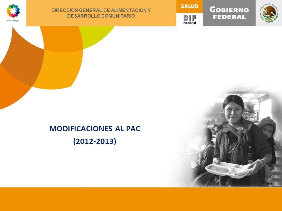 XII ENCUENTRO NACIONAL DE ALIMENTACIÓN Y DESARROLLO COMUNITARIO MODIFICACIONES AL PAC (2012-2013) DIRECCIÓN GENERAL DE ALIMENTACIÓN Y DESARROLLO COMUNITARIO