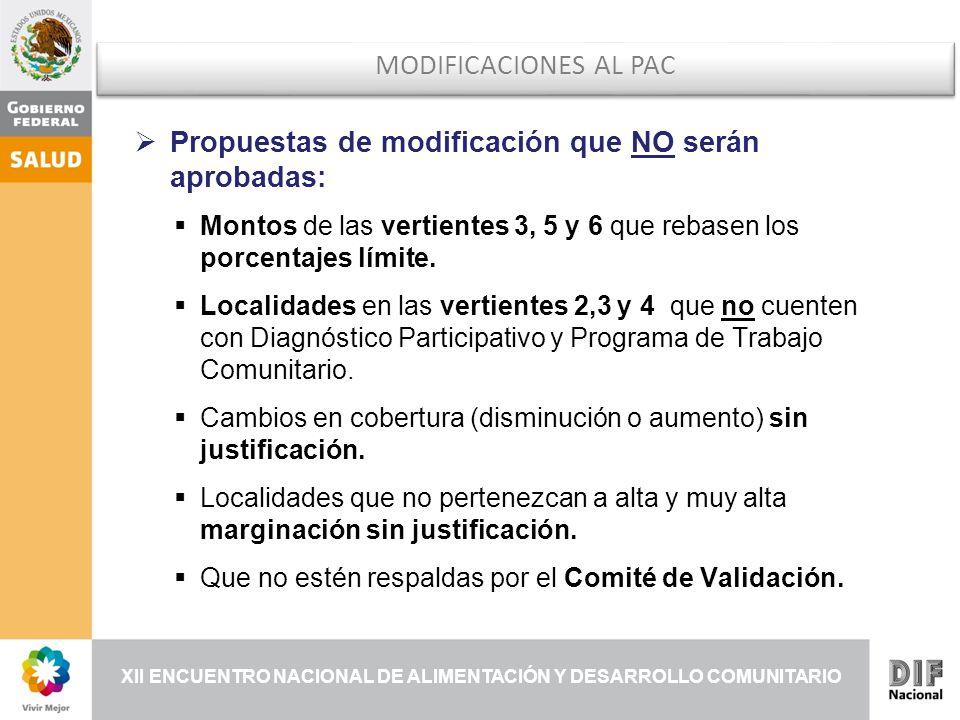 XII ENCUENTRO NACIONAL DE ALIMENTACIÓN Y DESARROLLO COMUNITARIO MODIFICACIONES AL PAC Propuestas de modificación que NO serán aprobadas: Montos de las vertientes 3, 5 y 6 que rebasen los porcentajes límite.
