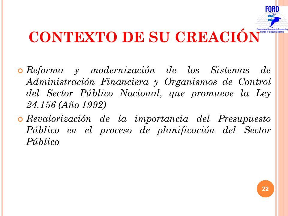 CONTEXTO DE SU CREACIÓN Reforma y modernización de los Sistemas de Administración Financiera y Organismos de Control del Sector Público Nacional, que
