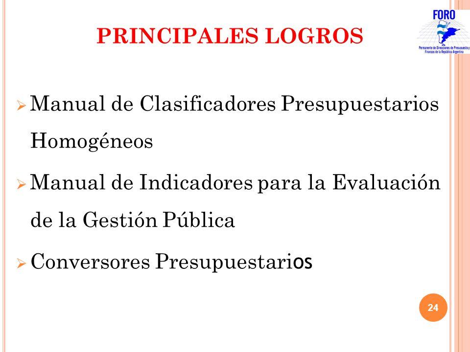PRINCIPALES LOGROS Manual de Clasificadores Presupuestarios Homogéneos Manual de Indicadores para la Evaluación de la Gestión Pública Conversores Pres