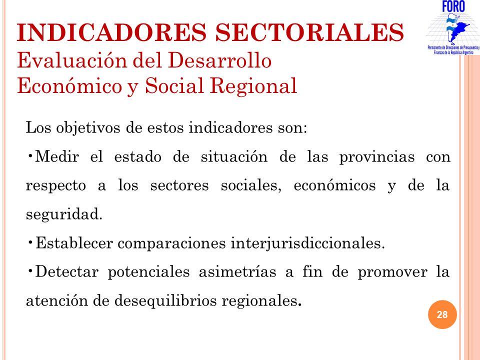 Los objetivos de estos indicadores son: Medir el estado de situación de las provincias con respecto a los sectores sociales, económicos y de la seguri