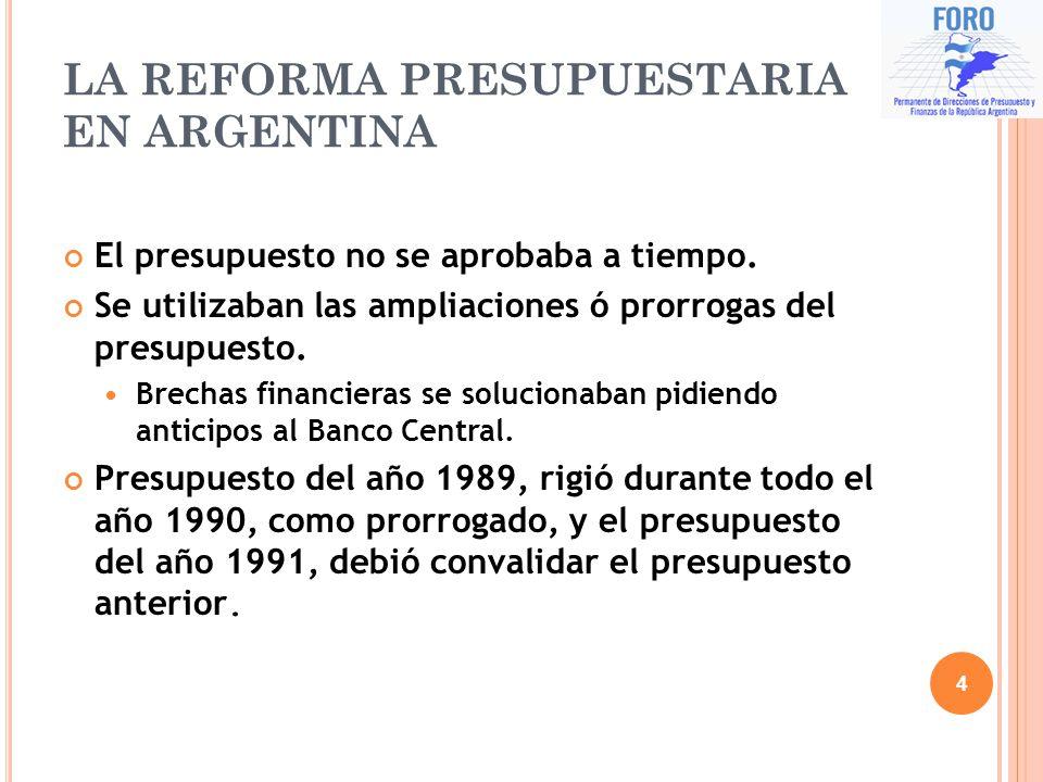 LA REFORMA PRESUPUESTARIA EN ARGENTINA El presupuesto no se aprobaba a tiempo. Se utilizaban las ampliaciones ó prorrogas del presupuesto. Brechas fin