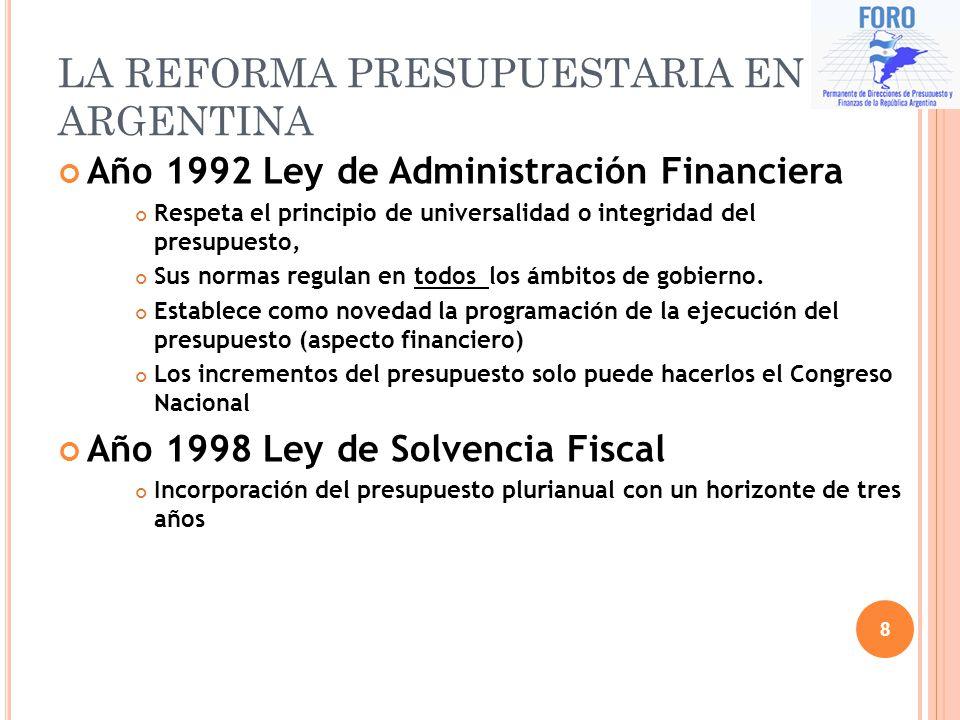 LA REFORMA PRESUPUESTARIA EN ARGENTINA Año 1992 Ley de Administración Financiera Respeta el principio de universalidad o integridad del presupuesto, S