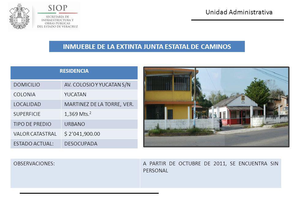 Unidad Administrativa RESIDENCIA DOMICILIOAV. COLOSIO Y YUCATAN S/N COLONIAYUCATAN LOCALIDADMARTINEZ DE LA TORRE, VER. SUPERFICIE1,369 Mts. 2 TIPO DE