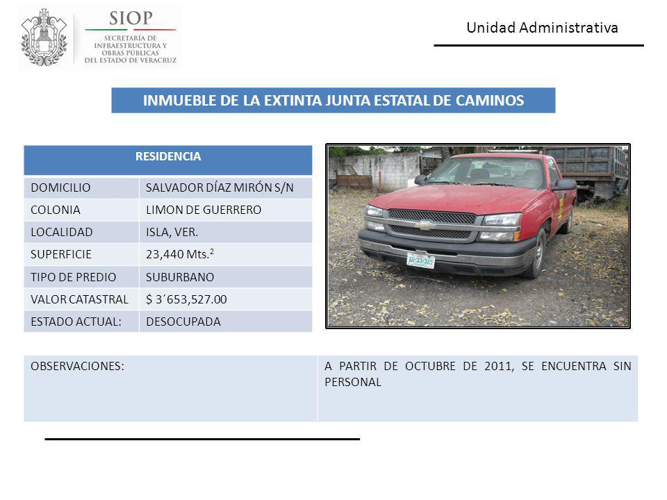 Unidad Administrativa RESIDENCIA DOMICILIOSALVADOR DÍAZ MIRÓN S/N COLONIALIMON DE GUERRERO LOCALIDADISLA, VER. SUPERFICIE23,440 Mts. 2 TIPO DE PREDIOS