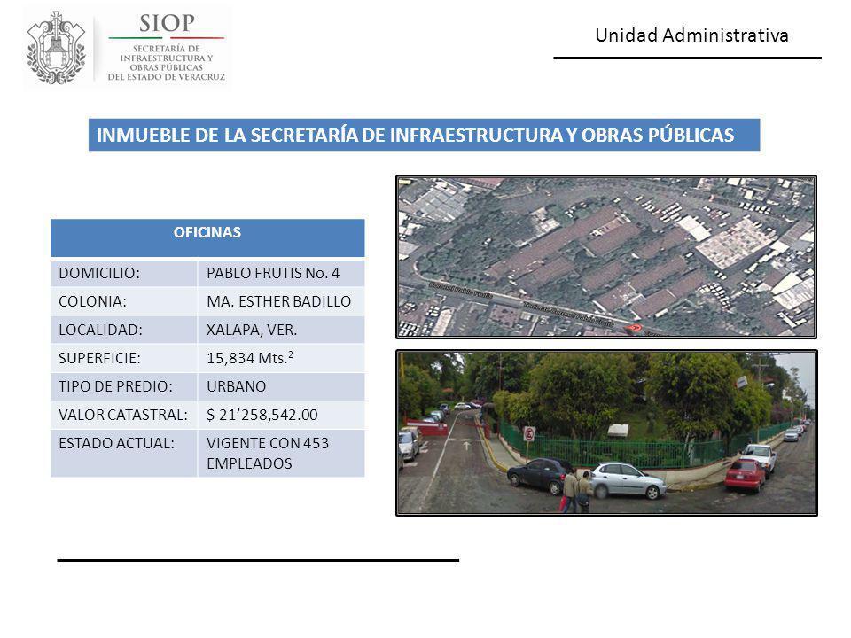 Unidad Administrativa OFICINAS DOMICILIO:PABLO FRUTIS No. 4 COLONIA:MA. ESTHER BADILLO LOCALIDAD:XALAPA, VER. SUPERFICIE:15,834 Mts. 2 TIPO DE PREDIO: