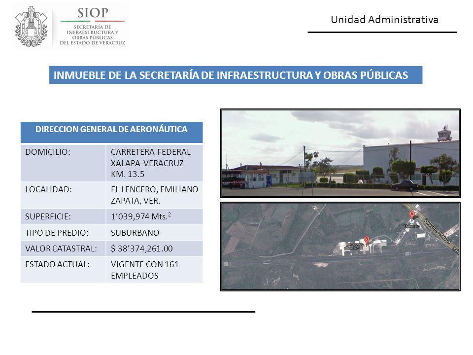 Unidad Administrativa DIRECCION GENERAL DE AERONÁUTICA DOMICILIO:CARRETERA FEDERAL XALAPA-VERACRUZ KM. 13.5 LOCALIDAD:EL LENCERO, EMILIANO ZAPATA, VER