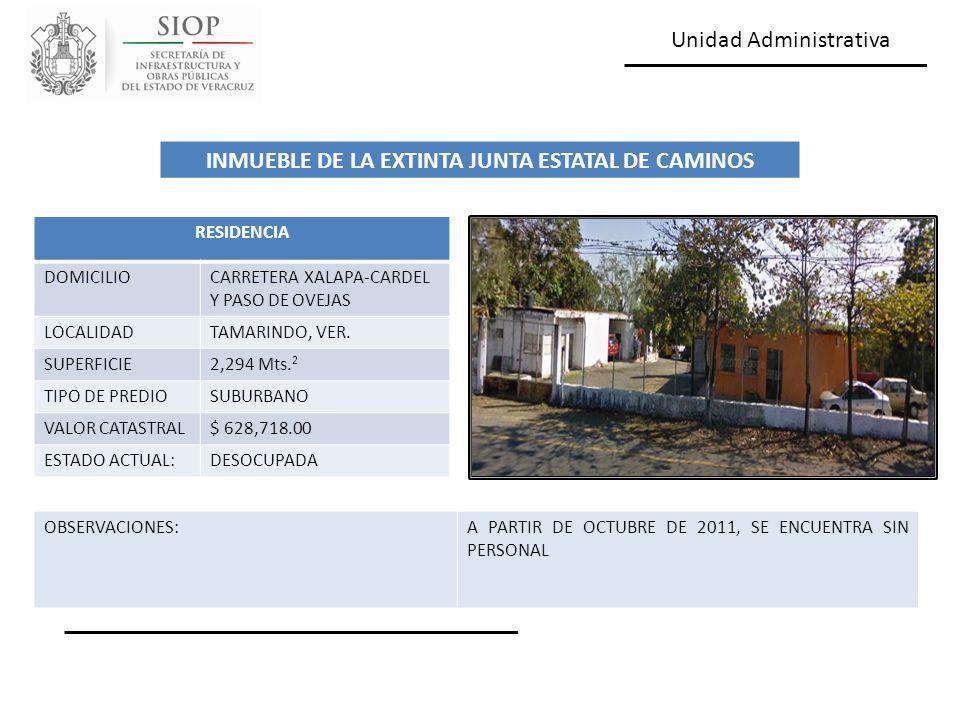 Unidad Administrativa RESIDENCIA DOMICILIOCARRETERA XALAPA-CARDEL Y PASO DE OVEJAS LOCALIDADTAMARINDO, VER. SUPERFICIE2,294 Mts. 2 TIPO DE PREDIOSUBUR