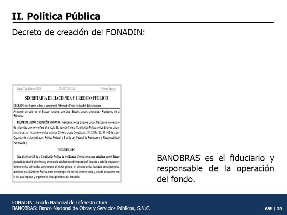 ASF | 24 FINFRA FARAC Otras dependencias y entidades de la APF FONADIN 405 (100%) 76 (19%) 329 (81%) PNI: Programa Nacional de Infraestructura 2007-2012.