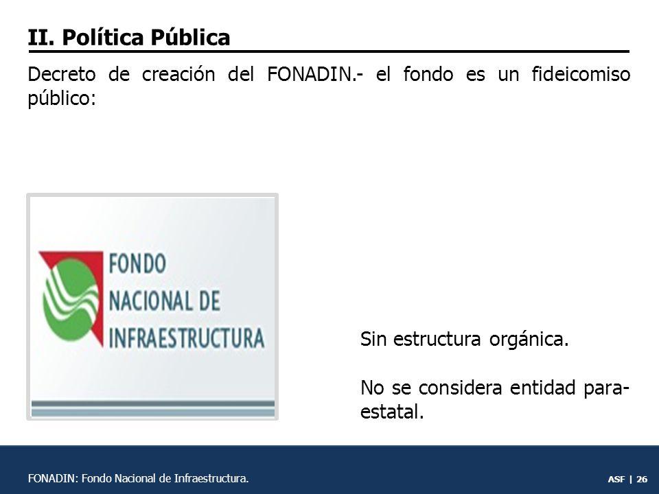 ASF | 25 FONADIN: Fondo Nacional de Infraestructura.