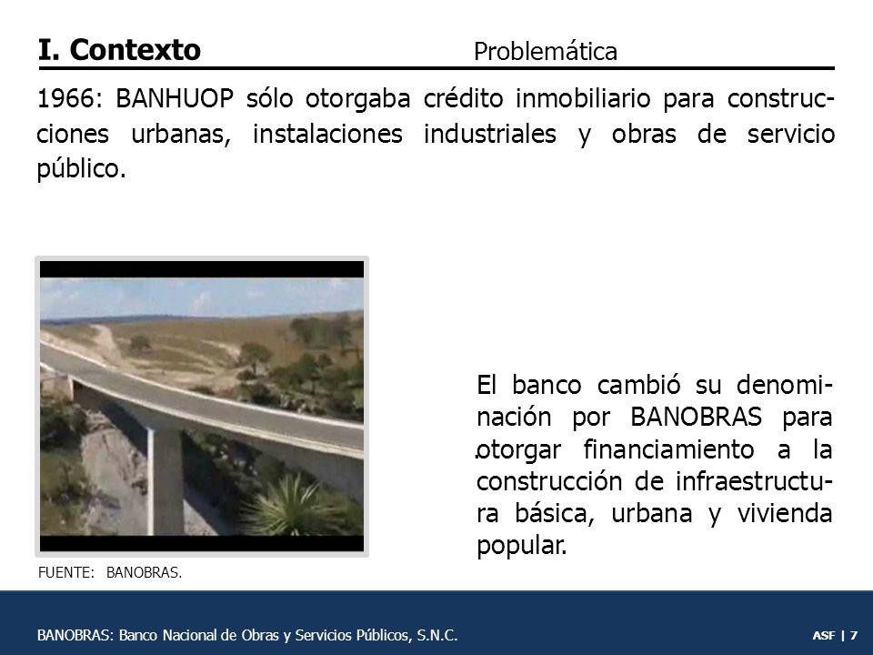 ASF | 6 Se creó el Banco Nacional Hipotecario, Urbano y de Obras Públicas (BANHUOP) para otor- gar financiamiento a la infra- estructura para contrarrestar el rezago de servicios pú- blicos.