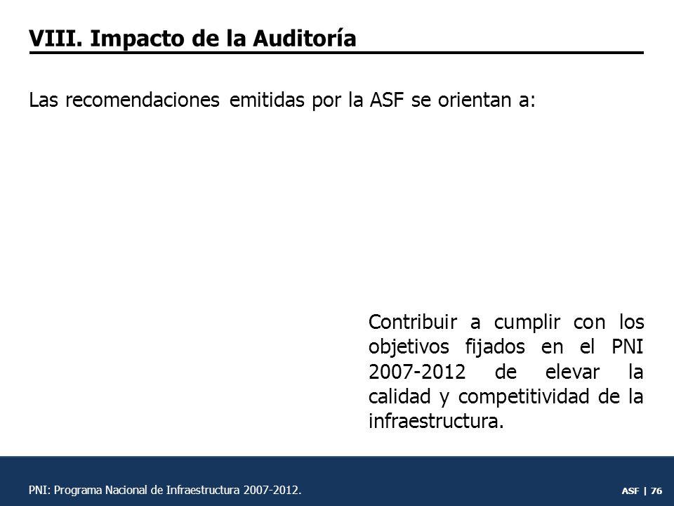 ASF | 75 VII.Impacto de la audito- ría