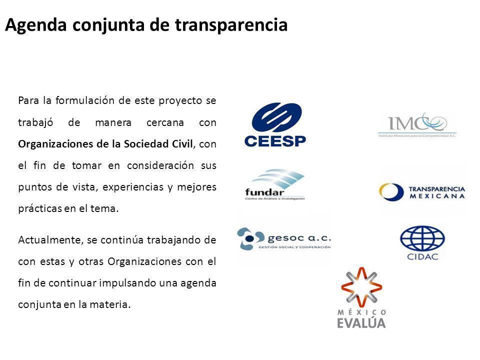Agenda conjunta de transparencia Para la formulación de este proyecto se trabajó de manera cercana con Organizaciones de la Sociedad Civil, con el fin